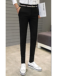 Men's Straight / Skinny Chinos / Business Pants,Going out / Casual/Daily / Party/Cocktail Simple / Street chic Solid Mid Rise Zipper