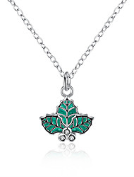 Christmas Jewelry Enamel Processing Green Leaf Shaped Silver Plated Pendant Necklaces For Women Necklace Woman