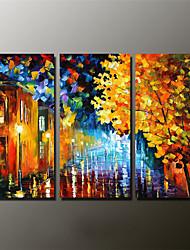 Ручная роспись Пейзаж / Абстрактные пейзажи Картины маслом,Modern 3 панели Холст Hang-роспись маслом For Украшение дома