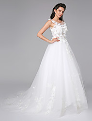 Ball Gown Scoop Court Train Tulle Wedding Dress with Beading Appliques