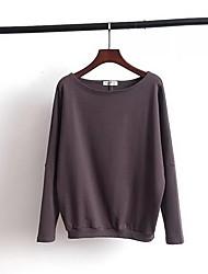 Damen Standard Pullover-Ausgehen Lässig/Alltäglich Einfach Solide Rot Schwarz Braun Grau Rundhalsausschnitt Langarm Kunst-Pelz Herbst