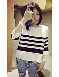 Damen Standard Strickjacke-Ausgehen Lässig/Alltäglich Einfach Gestreift Weiß Schwarz Rundhalsausschnitt ¾-Arm Wolle Baumwolle Polyester