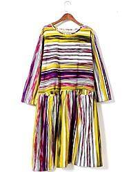 Trapèze Robe Femme Travail / Sportif Mignon / Chinoiserie,Imprimé Col Arrondi Midi Manches Longues Multi-couleur Coton Toutes les Saisons