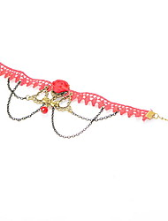 Woman Silvery Alloy Lace Garden Lobster Clasp Anklet