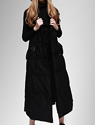 Women's Long Down Coat,Simple Casual/Daily Solid-Cotton / Nylon White Duck Down Sleeveless Shirt Collar Black