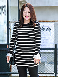 MsShe Women's Plus Size / Going out / Casual/Daily Vintage / Simple Bodycon / Tunic DressStriped Round Neck Mini Long Sleeve BlackCotton /