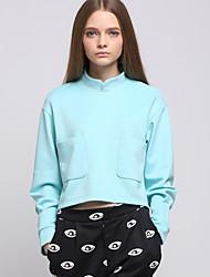 Damen Pullover Lässig/Alltäglich Ausgehen Aktiv Einfach Niedlich Solide Rundhalsausschnitt Mikro-elastisch Polyester LangarmFrühling
