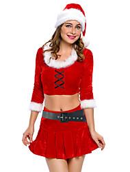 Costumes de père noël Fête / Célébration Déguisement Halloween Rouge & blanc Couleur Pleine Haut / Jupe / Ceinture / Fabrication CAP Noël