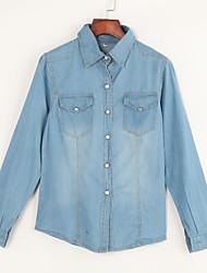 Women's Casual/Daily Street chic Spring / Fall Shirt,Solid Shirt Collar Long Sleeve Blue Cotton Medium