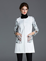 ZIYI Women's Casual/Daily Simple CoatPrint Long Sleeve Fall / Winter White Polyester Medium
