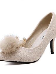 Women's Heels Fall Synthetic Fur Dress Stiletto Heel Black Almond