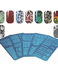 1pcs série placa lace rectangular impressão prego