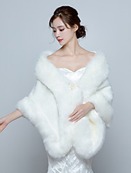 Women's Elegant Warm Wrap Capes Faux Fur Wedding / Party/Evening Winter Solid Thick White