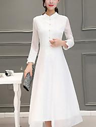 Feminino Evasê / Rendas Vestido, Para Noite Moda de Rua Bordado Colarinho Chinês Médio Manga ¾ Branco / Preto Raiom Outono Cintura Média