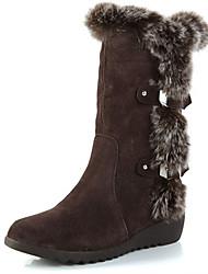 Women's Boots Winter Comfort Cowhide Fur Casual Low Heel Walking