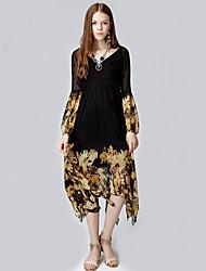 Women's beach/party/holiday/the Bohemian chiffon Swing Midi DressPrint V neck long sleeve black polyester in the summer