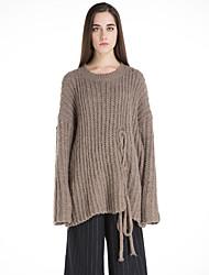 Damen Standard Pullover-Lässig/Alltäglich Retro Solide Beige Braun Rundhalsausschnitt Langarm Wolle Winter Mittel Dehnbar