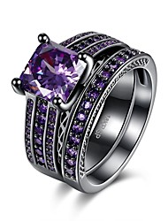 Ring Wedding / Party / Daily / Casual Jewelry Zircon / Copper Women Ring / Engagement Ring 1pc,6 / 7 / 8 Red / Purple