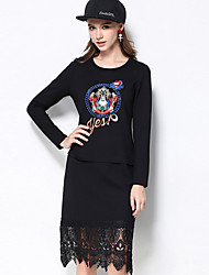 MEIDONGTAI Women's Plus Size / Casual/Daily Simple Shift DressEmbroidered Round Neck Above Knee Long Sleeve BlackCotton / Polyester / Nylon /