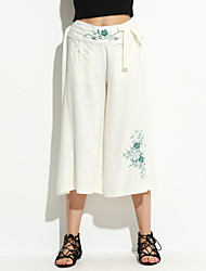 Women's Embroidered White / Black / Gray Loose Pants,Simple Spring / Summer