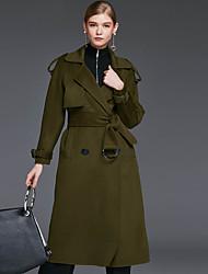 Женский На каждый день Однотонный Пальто Лацкан с тупым углом,Простое Зима Зеленый Длинный рукав,Шерсть