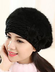 Women Rabbit Fur Beret Hat,Casual Winter / Fall