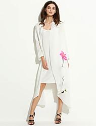 cardigan floral do vintage das mulheres, em torno do pescoço de algodão assimétrica / roupa