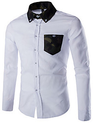 Men's Formal Simple / Street chic Fall Shirt,Solid Shirt Collar Long Sleeve White / Black Cotton Medium