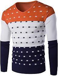 Normal Pullover Homme Décontracté / Quotidien simple,Couleur Pleine Bleu Rouge Gris Vert Orange Col Arrondi Manches LonguesCoton