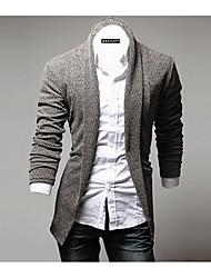 Men's Casual/Daily Simple Regular Cardigan,Print Brown / Gray / Multi-color Round Neck Long Sleeve Rabbit Fur All Seasons Medium