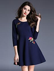 Mujer Línea A Vestido Casual/Diario Chic de Calle,Estampado / Bordado Escote Redondo Mini 3/4 Manga Azul / Negro Algodón / Poliéster Otoño