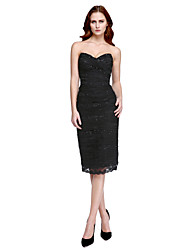 TS Couture® Cocktail Party Dress - Celebrity Style Sheath / Column V-neck Knee-length Tulle / Charmeuse with Beading