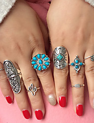 Ring Halloween / Party / Daily / Casual Jewelry Alloy / Resin / Turquoise Women Ring / Midi Rings 1set,8 Silver / Pool