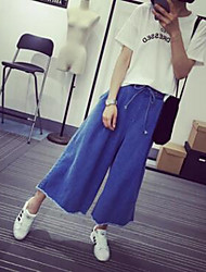 Women's Wide Leg Jeans Pants,Casual/Daily Simple Solid Mid Rise Drawstring Cotton Micro-elastic Fall