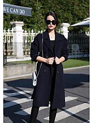 Feminino Casaco Casual Simples Outono / Inverno,Sólido Azul / Verde Lã Colarinho de Camisa-Manga Longa Média