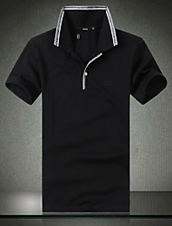Tee-shirt Hommes,Couleur Pleine Décontracté / Quotidien simple Eté Manches Courtes Col de Chemise Noir / Vert Coton