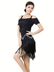 Latin Dance Dresses Women's Training Milk Fiber 2 Pieces Black / Red Latin Dance Short Sleeve Dress / Shorts