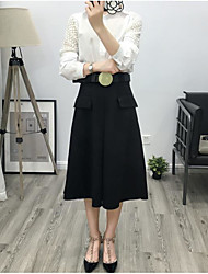 Damen Röcke,Schaukel einfarbig Tüll,Lässig/Alltäglich Sexy Hohe Hüfthöhe Midi Knopf Baumwolle Micro-elastisch Riemengurte / Sommer