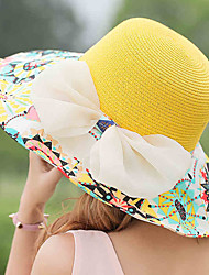 Female Leisure Summer Beach Big Brim Hat Foldable Breathable Sunshade Bowknot Straw Hat