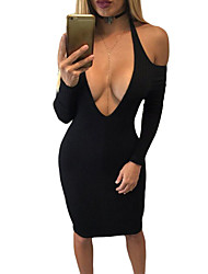 Women's Cold Shoulder Long Sleeve Plunge Halter Dress