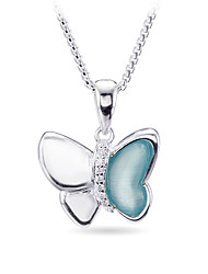 SILVERAGE Sterling Silver Blue Danube Butterfly Pendant Necklace 18''