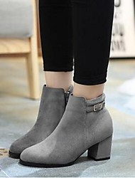 Women's Boots Comfort Suede Casual Black Gray