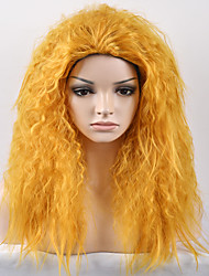 Europe and the United States Women New Year Yellow Kinky Curly Afro High Temperature Wire Wig