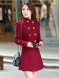 Women's Casual/Daily Simple Coat,Solid Stand Long Sleeve Fall / Winter Blue / Pink / Red / Black / Gray / Green / Yellow / Purple