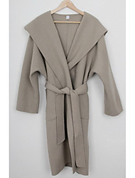 Women's Going out / Casual/Daily Vintage / Street chic Coat,Solid Hooded Long Sleeve Winter Gray Wool Thick