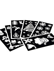 6 Pieces Henna Tattoo Stencil Hollow Christmas Tree Airbrush Painting for Women Body Art Tattoo Stencil Gift