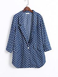 Manteau Femme,Points Polka Sortie Vintage Manches Longues Bleu Coton