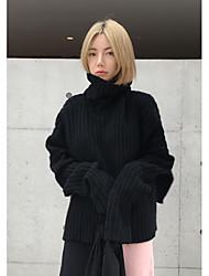 Normal Pullover Femme Décontracté / Quotidien simple,Couleur Pleine Noir Col Roulé Manches Longues Polyester Automne Hiver Moyen