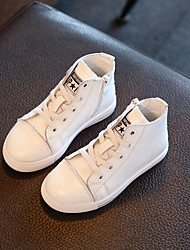 Boy's Sneakers Spring / Fall Comfort Leather Casual Flat Heel Lace-up Black / White Sneaker