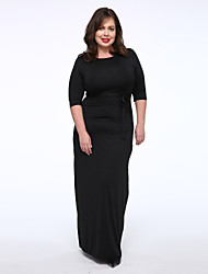 Women's Casual/Daily / Plus Size Simple / Street chic T Shirt Dress,Solid One Shoulder Maxi ½ Length Sleeve Black Polyester / Spandex